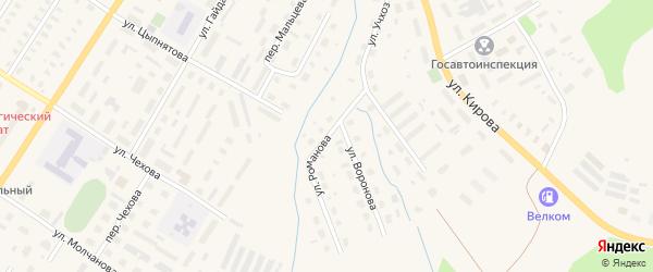 Улица Романова на карте Вельска с номерами домов