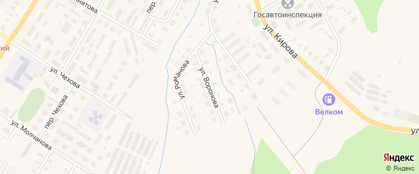 Улица Воронова на карте Вельска с номерами домов