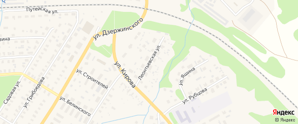 Леонтьевская улица на карте Вельска с номерами домов