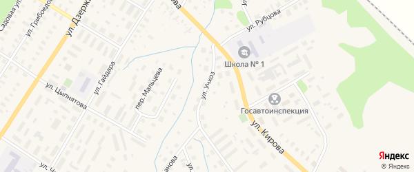 Улица Учхоз на карте Вельска с номерами домов