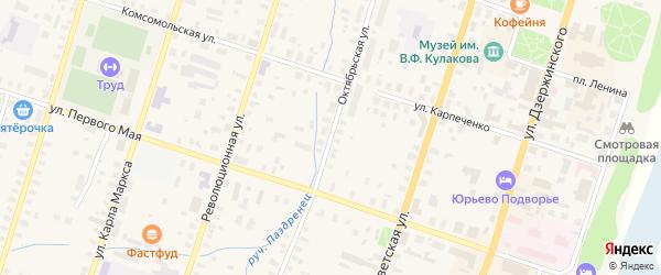 Октябрьская улица на карте Вельска с номерами домов