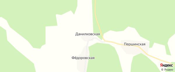 Карта Данилковской деревни в Архангельской области с улицами и номерами домов