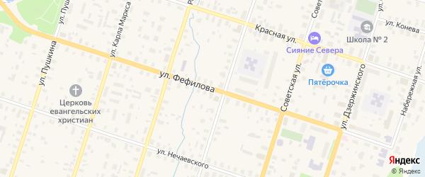 Улица Фефилова на карте Вельска с номерами домов