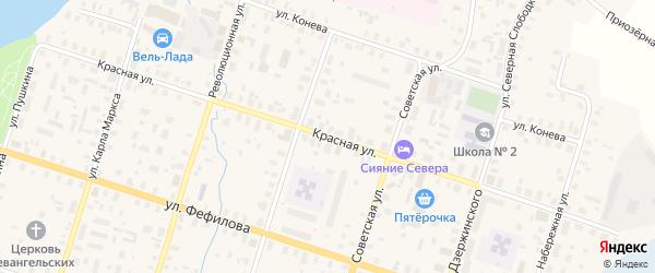 Красная улица на карте Вельска с номерами домов