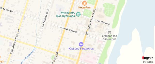 Улица Карпеченко на карте Вельска с номерами домов