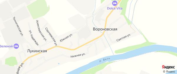 Карта Вороновской деревни в Архангельской области с улицами и номерами домов
