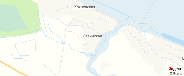 Карта Савинской деревни в Архангельской области с улицами и номерами домов