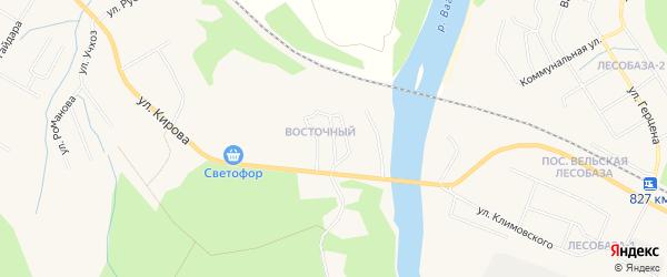 Восточный ГСК на карте Вельска с номерами домов
