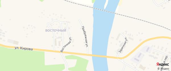 Прибрежная улица на карте Вельска с номерами домов