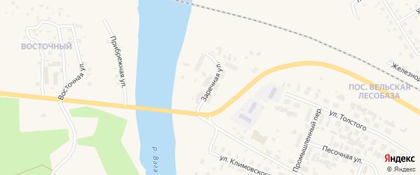 Заречная улица на карте Вельска с номерами домов