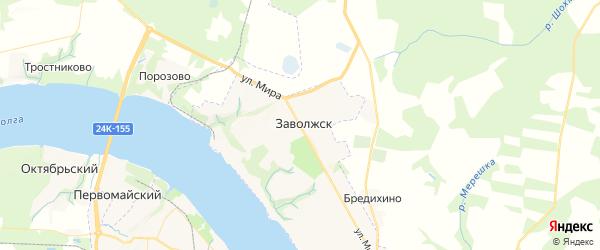 Карта Заволжска с районами, улицами и номерами домов