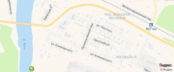 Промышленный переулок на карте Вельска с номерами домов
