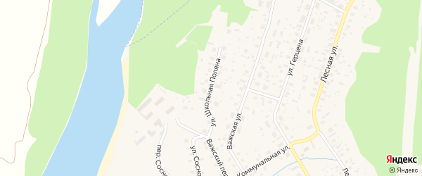 Улица Школьная Поляна на карте Вельска с номерами домов