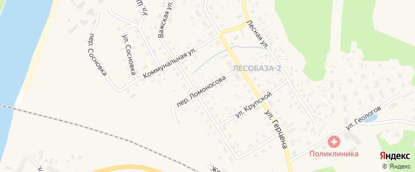 Переулок Ломоносова на карте Вельска с номерами домов