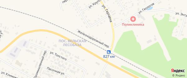 Железнодорожный переулок на карте Вельска с номерами домов