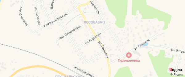 Улица Крупской на карте Вельска с номерами домов