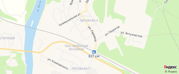 Карта железнодорожной станции Ваги города Вельска в Архангельской области с улицами и номерами домов