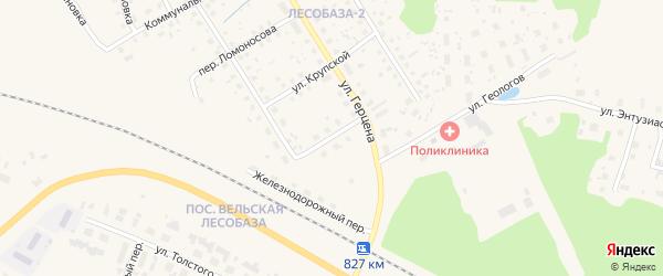 Железнодорожная улица на карте Вельска с номерами домов