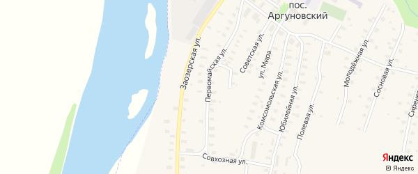 Первомайская улица на карте Аргуновского поселка с номерами домов