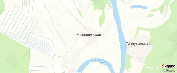 Карта Матюшинской деревни в Архангельской области с улицами и номерами домов