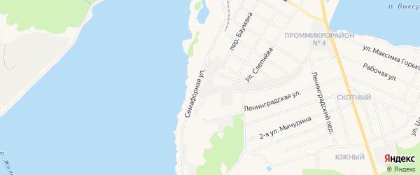 Карта территории СНТ Металлурга 1 города Выксы в Нижегородской области с улицами и номерами домов