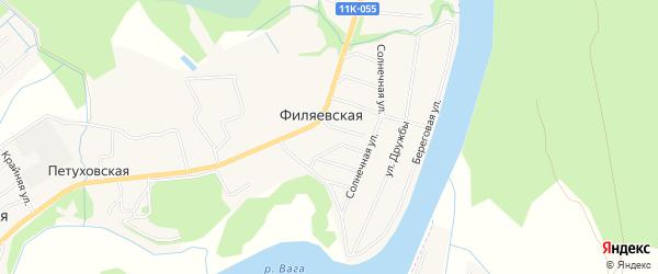 Карта Филяевской деревни в Архангельской области с улицами и номерами домов