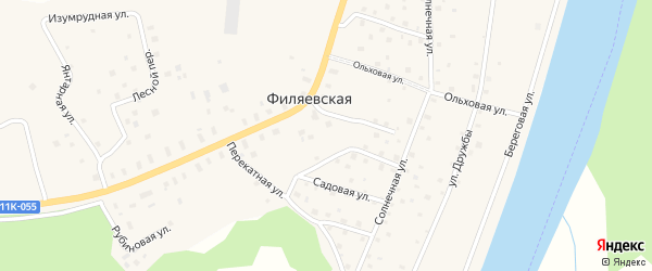 Кленовая улица на карте Филяевской деревни с номерами домов