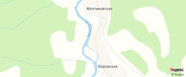 Карта Желтиковской деревни в Архангельской области с улицами и номерами домов