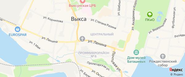 Карта территории Гаражный квартал N8 Центральный города Выксы в Нижегородской области с улицами и номерами домов