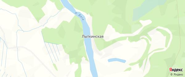 Карта Лыткинской деревни в Архангельской области с улицами и номерами домов