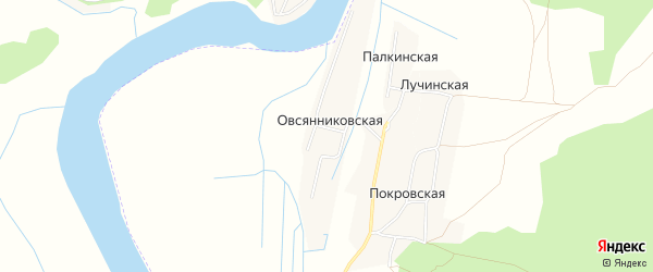 Карта Овсянниковская деревни в Архангельской области с улицами и номерами домов