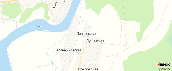 Карта Палкинской деревни в Архангельской области с улицами и номерами домов