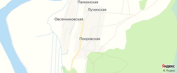 Карта Покровской деревни в Архангельской области с улицами и номерами домов