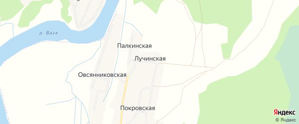 Карта Лучинской деревни в Архангельской области с улицами и номерами домов