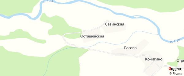 Карта Осташевской деревни в Архангельской области с улицами и номерами домов