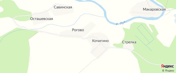 Карта деревни Рогово в Архангельской области с улицами и номерами домов
