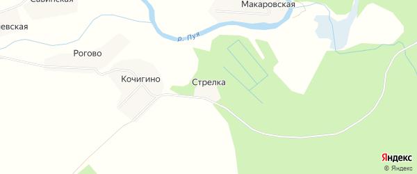 Карта деревни Стрелки в Архангельской области с улицами и номерами домов