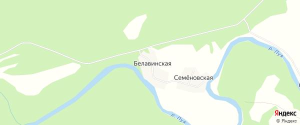 Карта Белавинской деревни в Архангельской области с улицами и номерами домов