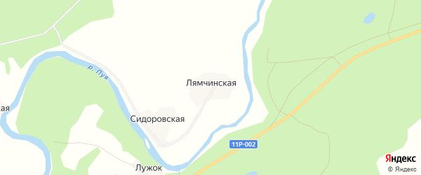 Карта Лямчинской деревни в Архангельской области с улицами и номерами домов