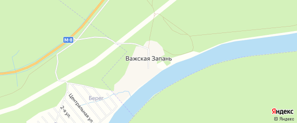 Карта поселка Важской Запани в Архангельской области с улицами и номерами домов