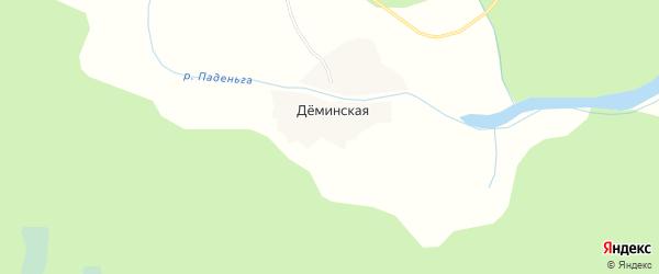 Карта Деминской деревни в Архангельской области с улицами и номерами домов