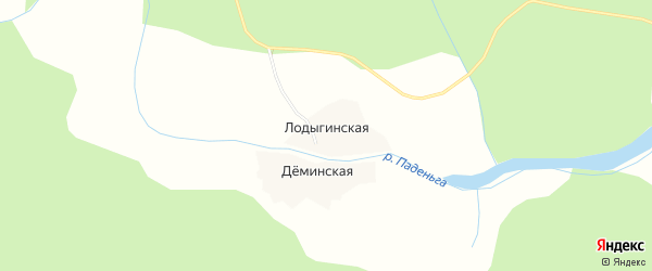 Карта Лодыгинской деревни в Архангельской области с улицами и номерами домов