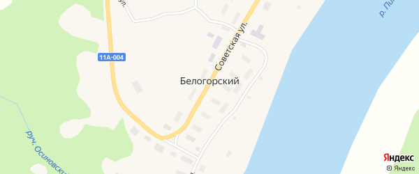 Советская улица на карте Белогорского поселка с номерами домов