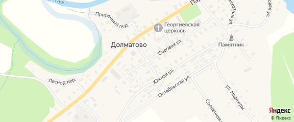 Комсомольская улица на карте села Долматово с номерами домов
