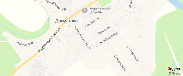 Южная улица на карте села Долматово с номерами домов