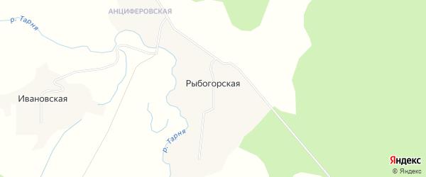 Карта Рыбогорской деревни в Архангельской области с улицами и номерами домов