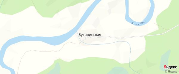 Карта Буторинской деревни в Архангельской области с улицами и номерами домов