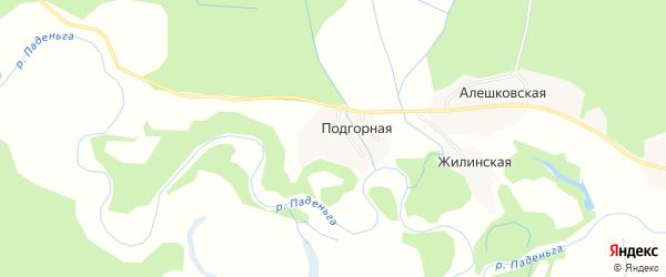 Карта Подгорной деревни в Архангельской области с улицами и номерами домов