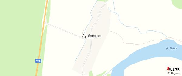 Карта Луневской деревни в Архангельской области с улицами и номерами домов