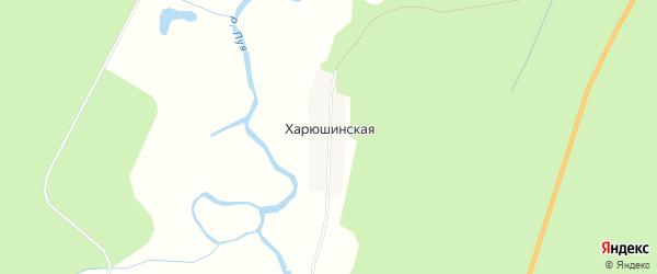 Карта Харюшинской деревни в Архангельской области с улицами и номерами домов
